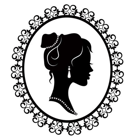 おむつフレームで若い女の子のレトロなシルエット プロファイル  イラスト・ベクター素材