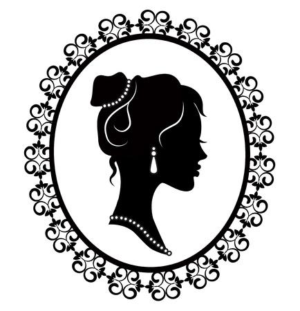 기저귀 프레임에서 젊은 여자의 복고풍 실루엣 프로필