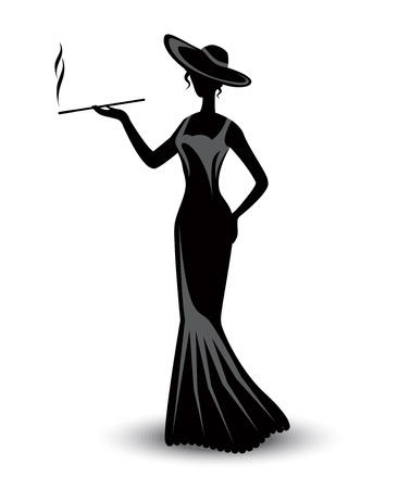 nude woman standing: retro silhouette elegant smoking woman in a hat and a long dress