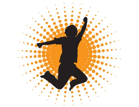 human energy: silhouette of a man jumping on a background of abstract sun Illustration