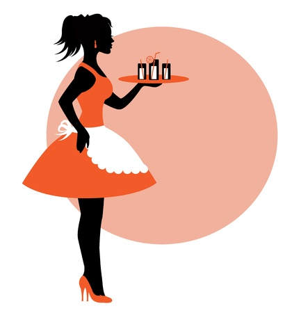 female silhouette wearing an apron and carrying a tray. A tray of drinks