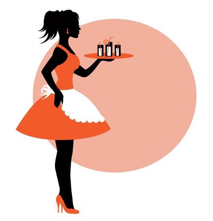 vrouwelijke silhouet met een schort en met een dienblad. Een dienblad van dranken Vector Illustratie