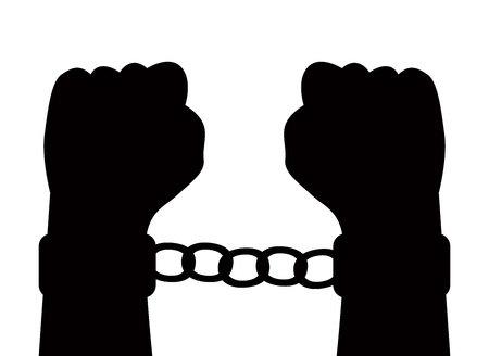 silhouette of hands in handcuffs on a white background Vector