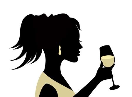 白い背景の上のガラスを持つ女性のシルエット