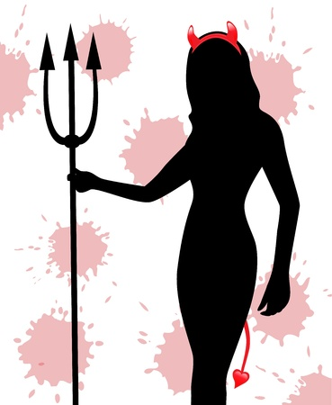 silhouette of a female devil with a trident with red horns and a tail on a background splashed