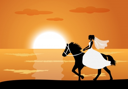 Bride in wedding dress riding a horse on the background of the sea and the sunset   Vector