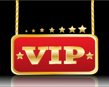 roped:   red plate with the image of stars and VIP inscription on a black background