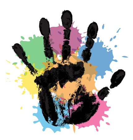 handprint on the background of multi-colored blobs Vector