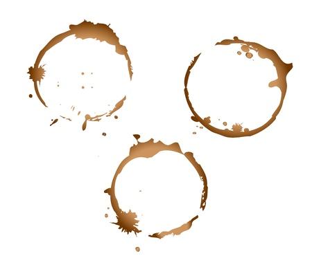 Flecken von Kaffeetassen auf einem weißen Hintergrund