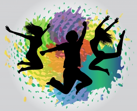 dancing silhouette:   silhouettes of people jumping on the colorful background splashes, drops and stains Illustration