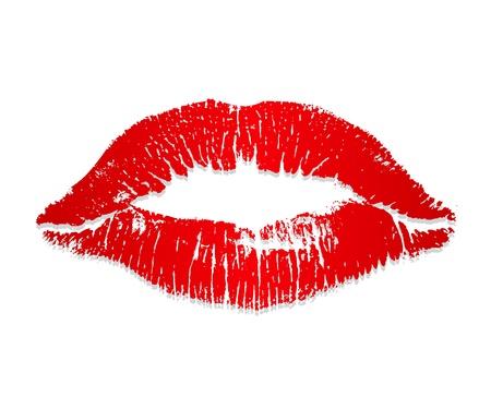 rosso bacio rossetto su uno sfondo bianco