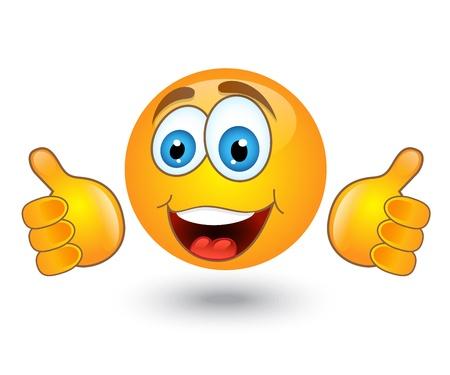 feeling positive: amarillo emoci�n ronda sonr�e y muestra un gesto de aprobaci�n Vectores