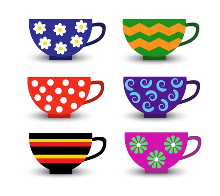 blue white kitchen: cartoon set of bright colored cups with different patterns