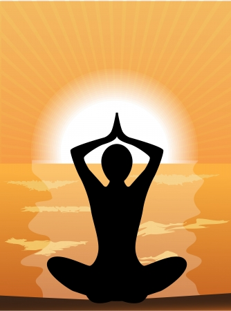 silhouette of a woman doing yoga at sunset Vector
