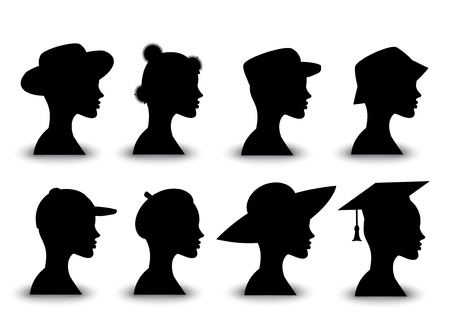 woman wearing hat: Profile of human silhouettes in different headdresses Illustration