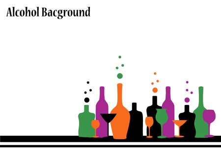 cognac: silhouettes of different bottles and glasses for alcoholic drinks Illustration