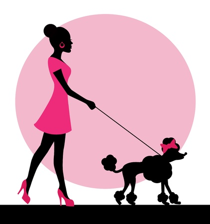 health cartoons: female silhouette with a dog on a leash