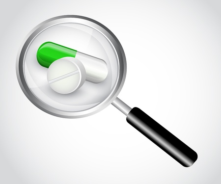 health symbols metaphors: capsule and tablet under the magnifying glass on a white background Illustration