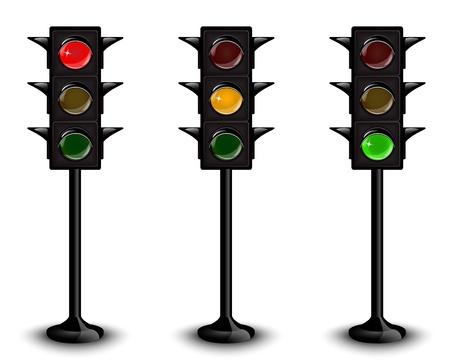 Tres semáforos negros con diferentes luces brillantes Ilustración de vector