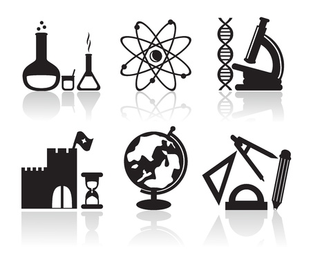 black icons with different school subjects on a white background Vector