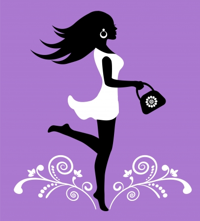 elegant female silhouette in a dress and ornate pattern with swirls Vector