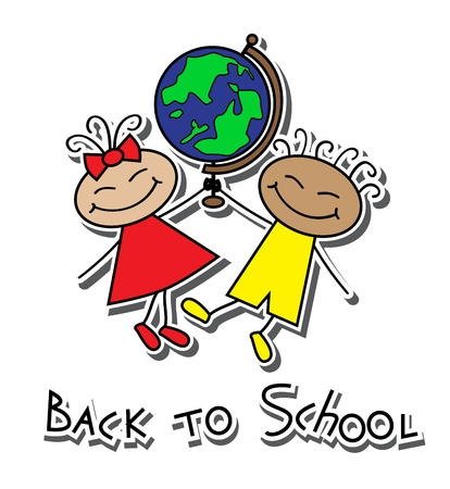cartoon boy and girl with a globe and the words back to school   Vector