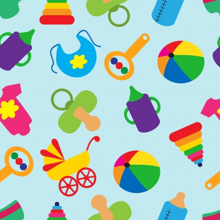bib: Bright seamless pattern with childrens accessories and toys Illustration