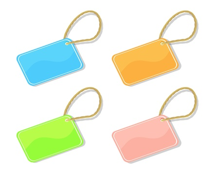 art supplies: Set of shiny trinket TAGS different colors on a white background