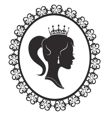 diadema: Silueta de perfil de una princesa en un marco sobre un fondo blanco