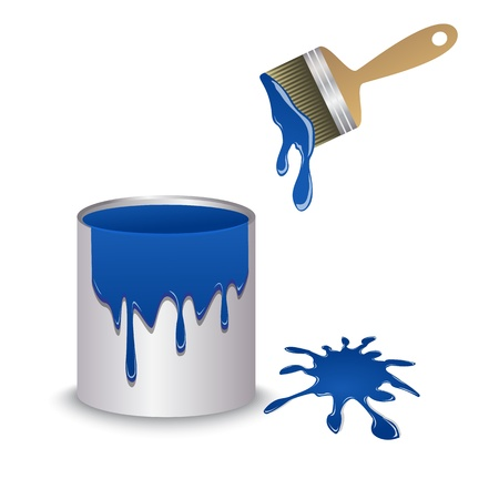 paint container: blue paint in the container, brush and blot   Illustration