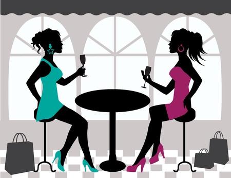 silhouettes de deux femmes assises à une table et de lever leur verre Vecteurs