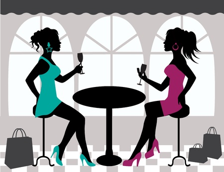 two women talking: silhouettes of two women sitting at a table and raise their glasses
