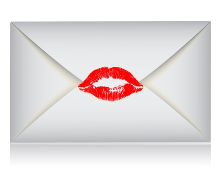 red envelope: envelope with the print of lips with red lipstick Illustration