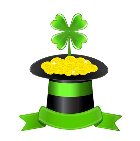 black hat filled with gold coins  Of the coins sticking clover  Hat ornaments shiny green ribbon Vector