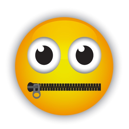 Cartoon emoticon with a mouth fastened with a zipper
