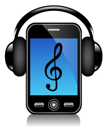 mp3 player: mobile phone with blue screen in big black headphones