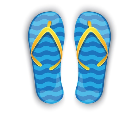 flip flops: shiny blue flip flops with yellow elements on a white background