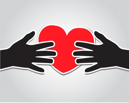 touching hands: paper hand holding a red heart on a light background