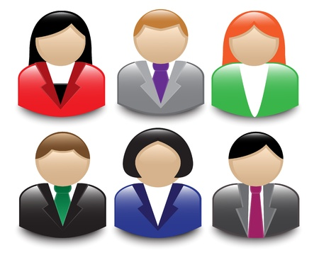 multi ethnic group: Set of shiny avatars office workers of different sexes