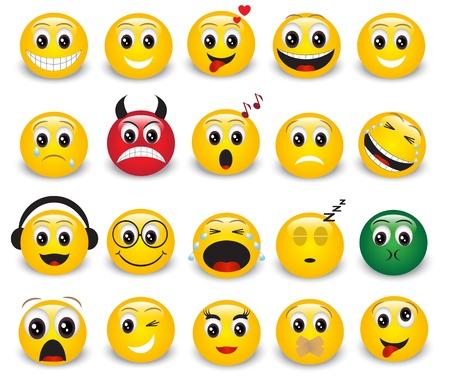 Set gele ronde expressieve emoticons op witte achtergrond