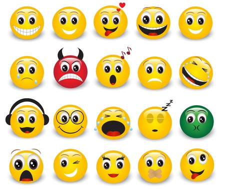 winking: Set of yellow round expressive emoticons on white background