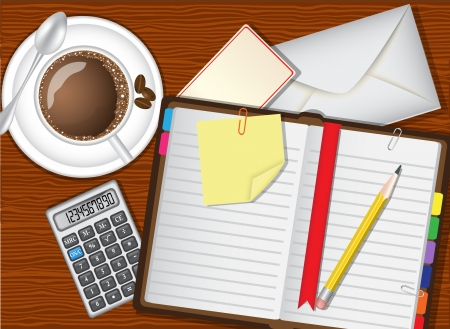 writing pad:   Open daily planner, coffee and stationery lie on a wooden table