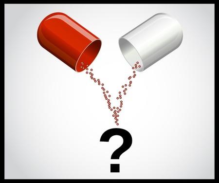 health questions: Open medical capsule and a question mark