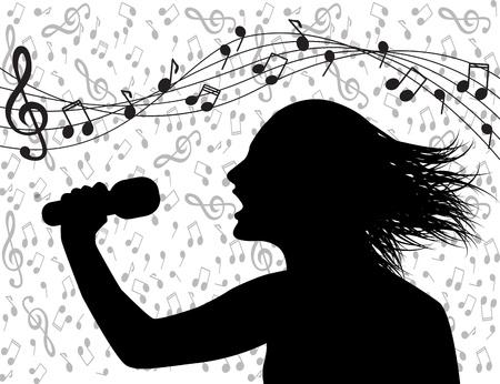 Silueta de perfil de un hombre cantando y formación musical Foto de archivo - 20879526