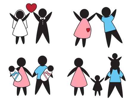 Pictures symbolize family values- love, pregnancy and parenting Stock Vector - 20880581