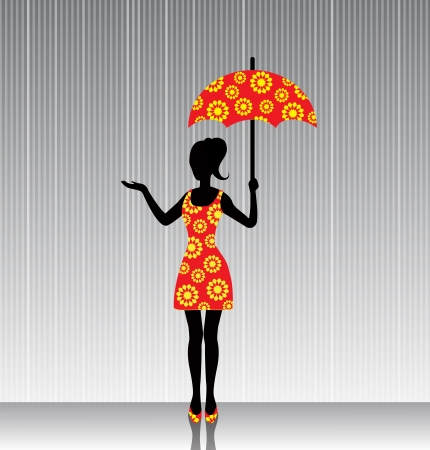 woman with an open umbrella in a bright dress in the rain Vector