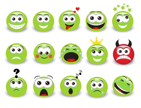 emo��es: Conjunto de emoticons expressivos verdes com sombra Ilustra��o
