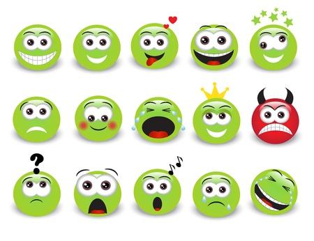 Set van groene expressieve emoticons met schaduw Stock Illustratie