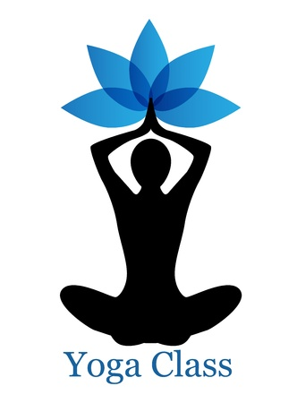 positions: human silhouette in yoga pose and a lotus flower Illustration