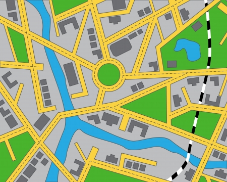 urban: editable map of the area with roads, buildings, river and railway